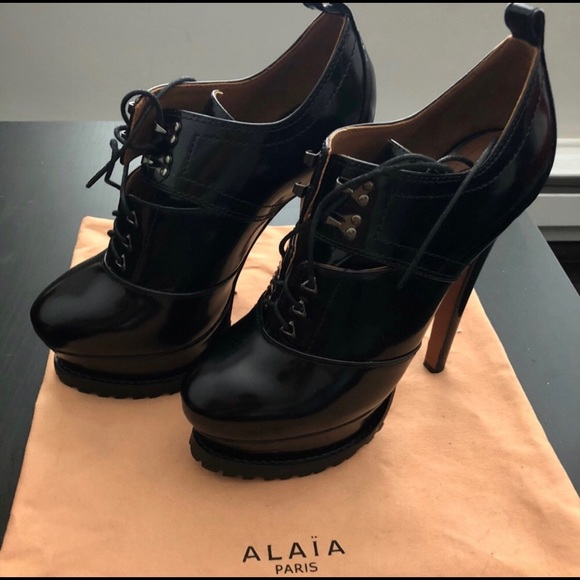 c14d5d9341b Alaia Shoes | Laceup Patentleather Ankle Boots Nwot | Poshmark